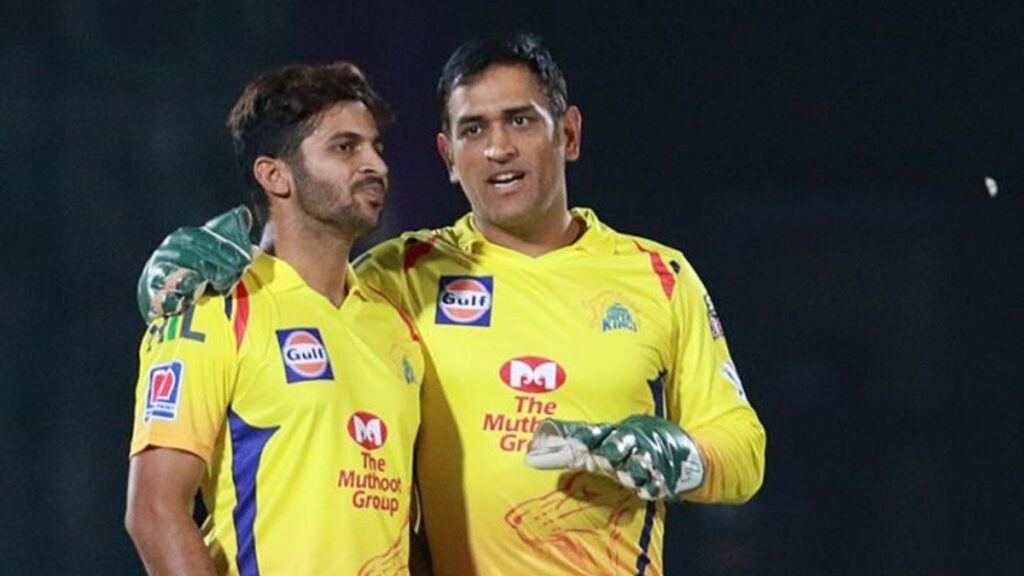 Shardul Thakur with MS Dhoni for Chennai Super Kings in the IPL. Photo- CSK Twitter