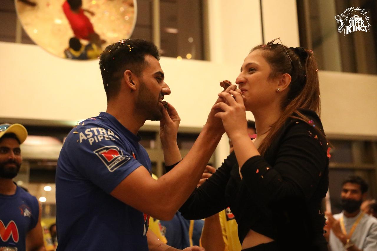 Deepak Chahar and Jaya Bharadwaj. Photo- CSK Twitter