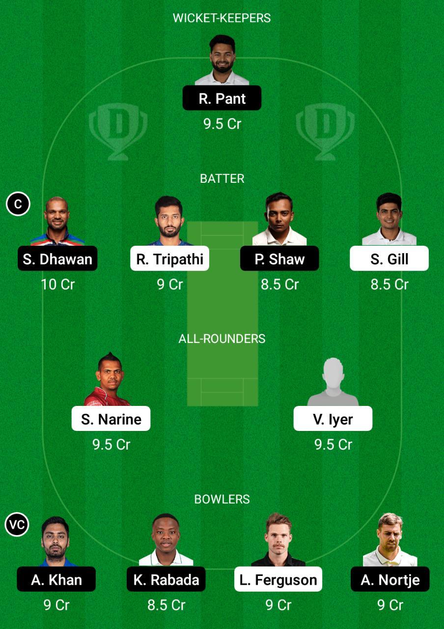 KKR vs DC Dream11 Prediction Fantasy Cricket Tips Dream11 Team Vivo IPL 2021