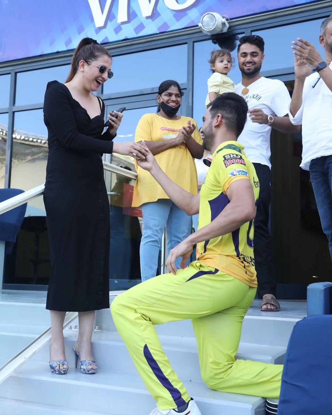 Deepak Chahar with his fiance Jaya Bharadwaj. Photo- Instagram